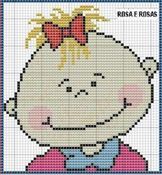 Bebe Cross Stitch For Kids, Cross Stitch Baby, Cross Stitch Charts, Cross Stitch Embroidery, Beading Patterns, Embroidery Patterns, Stitch Character, Swedish Weaving, Knitting Charts