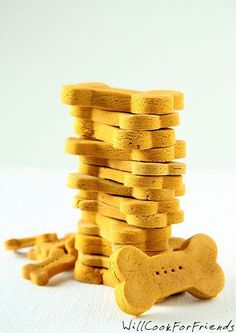 Pumpkin Dog Biscuits |  2 1/2 cups brown rice flour (can substitute whole wheat flour if you know your dog is okay with wheat)  1/2 cup unsweetened pumpkin puree (can substitute mashed sweet potato, thinned down with a little water)  1/4 cup natural creamy peanut butter (no sugar added)  2 large eggs  Pinch of salt