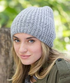 Easy-Fit Beanie Free Knitting Pattern from Red Heart Yarns