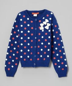 Look at this #zulilyfind! Royal Blue Polka Dot Bow Cardigan - Toddler & Girls by Funkyberry #zulilyfinds