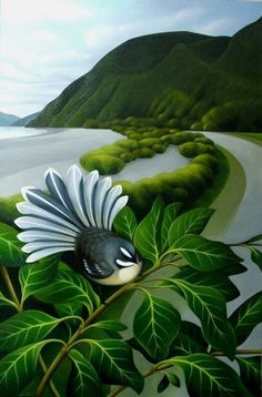 Why buy a New Zealand art print when you can buy a detailed original New Zealand painting and have it delivered anywhere around the world. Art Maori, Polynesian Art, New Zealand Landscape, Maori Designs, New Zealand Art, Nz Art, Landscape Artwork, Naive Art, Bird Art