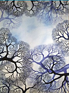 "Winterlace: Watercolor painting by Helen Klebesadel (30"" x 22"", $2500.00) #watercolor #tree"