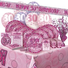 Age #30/30th #birthday pink #glitz party range (balloon/decoration/banner/napkins,  View more on the LINK: 	http://www.zeppy.io/product/gb/2/311666192347/