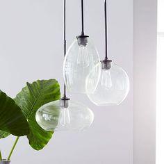 """Glass Triplet Chandelier #Glass Triplet Chandelier #westelm $349. green-tinted glass. 14.5""""diam. black cloth wrapped cord Glass Triplet Chandelier West Elm # 40 watt bulb. or 9W CFL 14.5 diam x 31""""ht $349"""