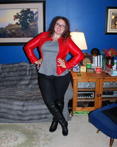 What Mama Wears: Kinky! Red leatherette jacket, houndstooth peplum top, black skinny jeans, black over-the-knee boots, mom style, plus size style, mom fashion, plus size fashion