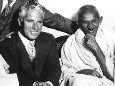 Gandhi with Charlie Chaplin