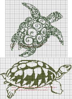 Tartles Cross Stitch Sea, Cross Stitch Animals, Modern Cross Stitch, Cross Stitch Charts, Counted Cross Stitch Patterns, Cross Stitch Designs, Cross Stitch Embroidery, Bead Loom Patterns, Beading Patterns