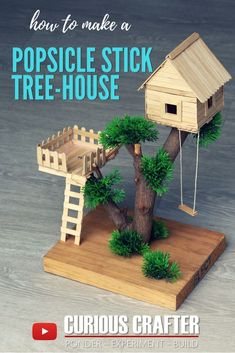 DIY Popsicle Stick Tree House Tutorial - How to Make a Small Tree House with Ice . DIY popsicle stick tree house tutorial – how to create a small tree house with popsicles by Curious Crafter Popsicle Stick Crafts House, Popsicle Sticks, Craft Stick Crafts, Fun Crafts, Diy And Crafts, Crafts For Kids, Craft Stick Projects, Craft Sticks, Wood Sticks
