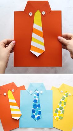 This Free Tie Template Printable PDF is perfect for a Father's Day Craft! Kids can write their own messages under the tie and turn it into a shirt card. day gifts from kids diy crafts cute ideas Tie Template [Video] Toddler Crafts, Preschool Crafts, Fun Crafts, Crafts For Kids, Arts And Crafts, Craft Kids, Card Crafts, Kids Diy, Decor Crafts