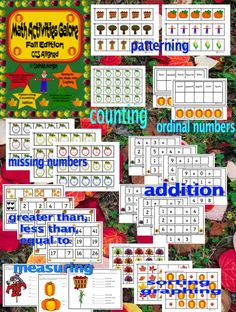 CCS Aligned, engaging and interactive math activities: patterning; sorting by shape, color, size; counting; missing numbers; greater than, less than, equal to; graphing; addition; ordinal numbers; tally marks; measurement, ALL Fall related. #math #fall #autumn #numbers #addition #graphing #sorting #tallymarks #measurement #patterning