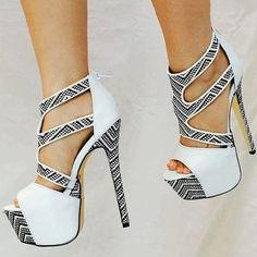Material:PU|Heel Height:15cm|Pattern:Color Block|Embellishment:Hollow,Platform #heels #trends #dress #jeans