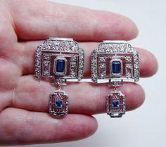 Antique ART DECO 2.2ct Sapphire Diamond Dangle Earrings Platinum Estate VIDEO
