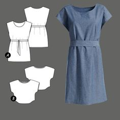 Dress and top Knitting Patterns, Sewing Patterns, Short Tops, Diy Dress, Clothing Patterns, Patterned Shorts, Free Pattern, Short Sleeve Dresses, Clothes For Women