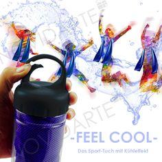 Unsere Feel Cool Kühltücher sind der perfekte Begleiter wenn es mal heiß hergeht. Einfach das Tuch nass machen und aus wringen. Innerhalb kürzester Zeit kühlt es sich deutlich ab und kann mit der praktischen Flasche überall mit hingenommen werden. Der perfekte Werbeträger um bei Ihren Kunden und Mitarbeitern im Gedächtnis zu bleiben.  ------------------------------------ #Kuehltuch #so_heiss #Werbeartikel #Geschenk #Sporttuch #Personalisieren Water Bottle, Cool Stuff, Drinks, Promotional Giveaways, Flasks, Packaging, Simple, Nice Asses, Drinking