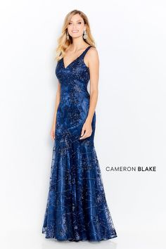 Cameron Blake by Mon Cheri - 120620 Embroidered V-Neck Trumpet Gown Prom Dresses Online, Prom Dresses Blue, Mermaid Dresses, Bride Dresses, Trumpet Gown, Trumpet Skirt, Cameron Blake, Perfect Prom Dress, Formal Gowns