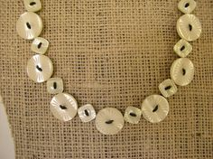 Shiny & Bright White Button Necklace by ObjectsOfTheHeart on Etsy, $40.00
