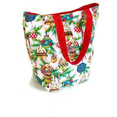 Christmas Shopping Bag lined  with red cotton. - pinned by pin4etsy.com