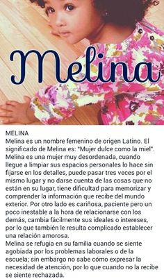 Nombres de niñas, significado del nombre Melina