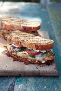 Grilled Chicken, Provolone, Pesto, Tomato Sandwich