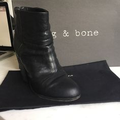 Rag and Bone Newbury Boot Pre-owned Rug and Bone Black Leather Boot in Good Condition with Dust Bag and Original Box rag & bone Shoes Ankle Boots & Booties