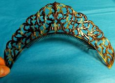 Unique and rare shape Vintage tortoise shell hairband comb tiara