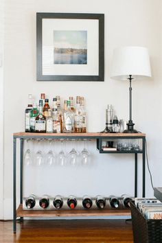 39 ideas for apartment diy bar ikea hacks Ikea Bar Cart, Diy Bar Cart, Bar Cart Decor, Bar Carts, Bar Trolley, Gold Bar Cart, Ikea Trolley, Metal Bar Cart, Mini Bars
