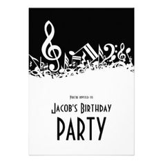 Music Note Party Invitations | Customizable Jumbled Musical Notes Invitation invitation