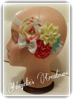 Coral, yellow, aqua & white headband