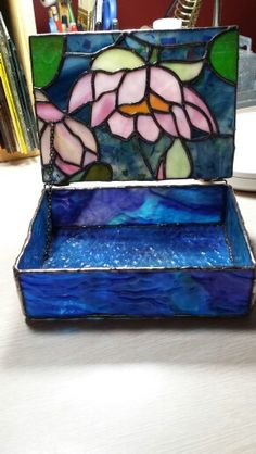 Stained glass box 5X7 inches. Flowers, lily in water with lily pads.
