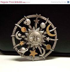 Sun Moon Planets Celestial JJ pin brooch by dollherup on Etsy. Sun Moon Stars, Sun And Stars, Moon Face, Back Art, Moon Jewelry, Moon Child, Astrology, Stones And Crystals, Art Ideas