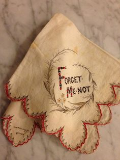 1800's Forget Me Not Remembrance Handkerchief