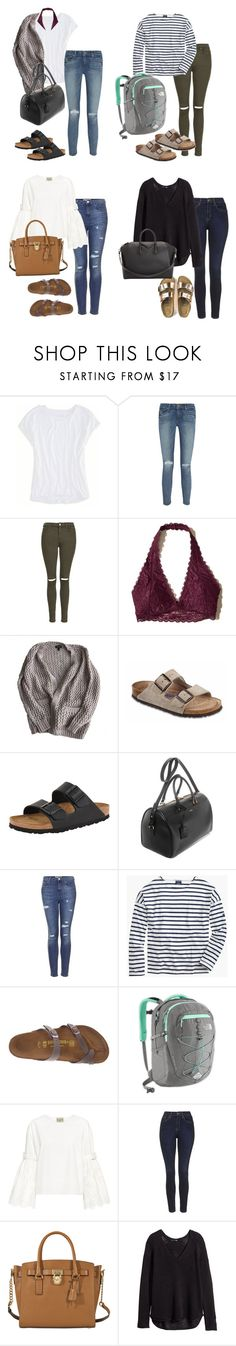 """""""Birkenstock"""" by xxkimberly24xx on Polyvore featuring American Eagle Outfitters, Paige Denim, Topshop, Hollister Co., Birkenstock, Yves Saint Laurent, Saint James, The North Face, Sea, New York and MICHAEL Michael Kors"""