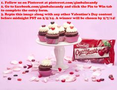 Enter to win two cases packed with our Lovers line (Cherry, Sour and Cinnamon Lovers). We'll send one for you to keep and the other to your special someone!  1) Follow us on Pinterest at pinterest.com/gimbalscandy.  2) Go to facebook.com/gimbalscandy and click the Pin to Win tab to complete the entry form.  3) Repin the image below along with any Valentine's content by 2/5/14.
