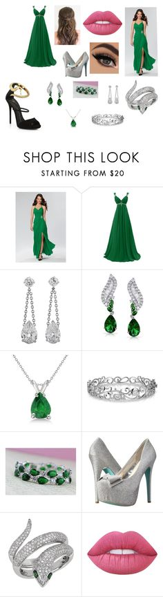"""Slytherin Yule Ball Gowns"" by hudson-nc on Polyvore featuring Bling Jewelry, Allurez, Effy Jewelry, Betsey Johnson, Lime Crime and Giuseppe Zanotti"