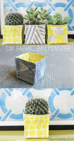 Hi, I'm Marni with Haberdashery Fun. I'm happy to be here today sharing my mini fabric planter bins. I've been wanting to make little fabric bins for quite some time. With Mother's Day just around the