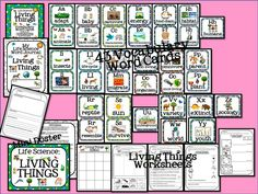 Living Things Vocabulary Cards with journal and worksheets!