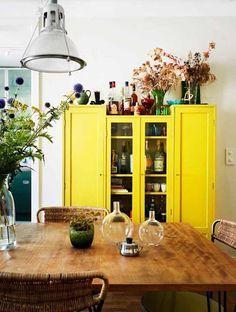 bright yellow cabinet!