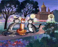 Рисунки кошек от Татьяны Родионовой