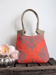 Neon orange damask tapestry hobo bag