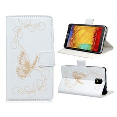 Butterfly White Leather Samsung Galaxy Note 3 Case