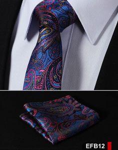 "EFB Paisley Floral 2.75"" 100%Silk Woven Slim Skinny Narrow Men Tie Necktie Handkerchief Pocket Square Suit Set"