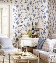 Thibaut - Wallpaper and Fabric Furniture Design Modern, Decor, Blue And White Fabric, Cottage Decor, Interior Design, Home Decor, House Interior, Blue Rooms, White Decor