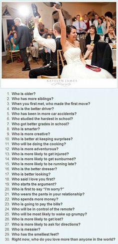 Bridal shower game. Tatiana.... great list of questions!! lol