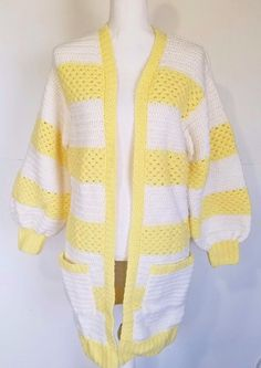 Excited to share the latest addition to my #etsy shop: Vintage Chrochet Handmade Long Cardigan Sweater Jacket Yellow White Slouchy S M http://etsy.me/2Cn4rRx #clothing #women #sweater #yellow #white #vintagecardigan #vintagesweater #vintagejacket #handmadesweater