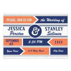 Modern typography navy blue, coral orange wedding invitation. #weddinginvitations, #weddings, #typography, #modern, #coral, #navyblue