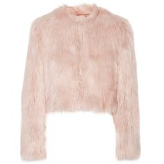 REDValentino Cropped faux shearling jacket (575 AUD) ❤ liked on Polyvore featuring outerwear, jackets, tops, coats, pink, sherpa jacket, pink jacket, red valentino, cropped jacket and pastel pink jacket