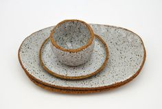 SECONDS SALE ** Rustic Serving Set - Ceramic Bowls - Speckled Pottery - Ceramics and Pottery