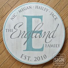 Perfect Wedding, Anniverary, Housewarming, Mother's Day or Realtor Closing Gift - Personalized Established Date Round Family Name Sign - Monogram Initial Round Sign - Hand Painted Wood Sign in various sizes www.creativesignlanguage.com
