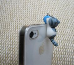 Hand painted cute playing Hydrangea grey cat iphone4 iphone4s & iphone5 plug. phone plug, iphone plug, dust plug,plug, gift Dust Plug, Grey Cats, Polymer Clay Creations, Weird And Wonderful, Looks Cool, Plugs, Hand Painted, Phone Cases, Iphone