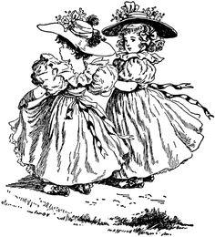Two Girls in Fancy Dresses
